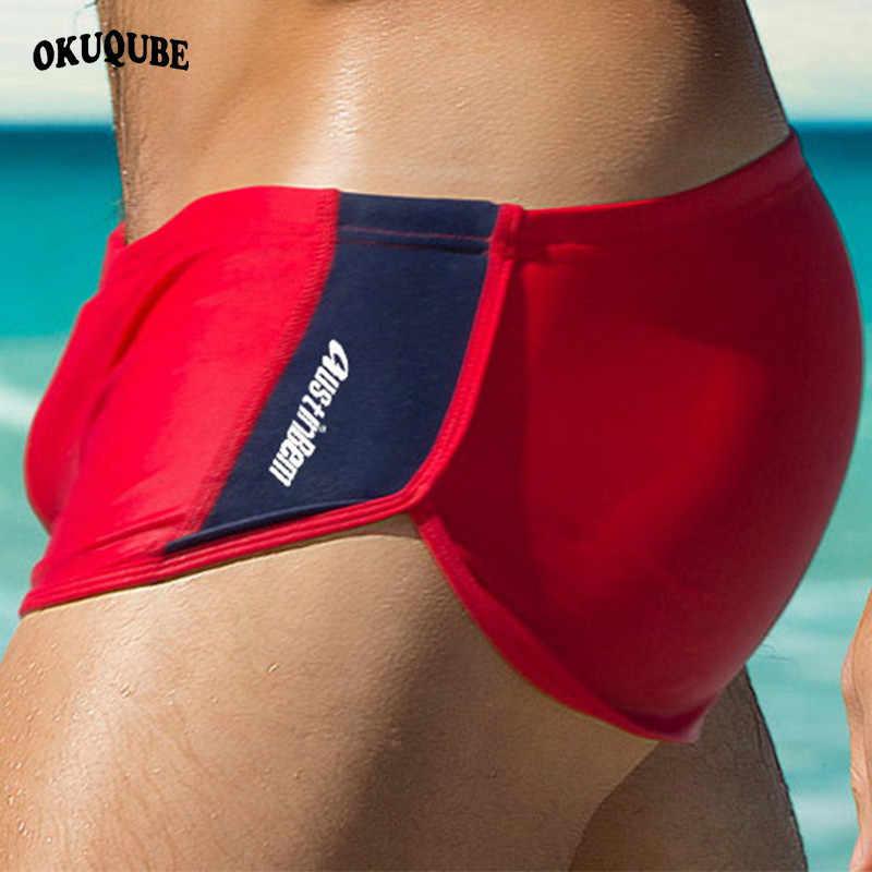 الرجال ملابس السباحة الأحمر الأزرق الأسود ملابس رجل الرباط مطاطا حزام بحر السباحة Trunks سريعة الجافة تنفس السباحة ملخصات XL