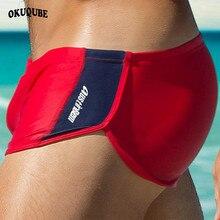 OKUQUBE 2018 Новый Нейлон плавание Мужские Шорты для купания Fit Boxer купальники с низкой талией купальник эластичные трусы для серфинга дышащая пляжная одежда для Для мужчин