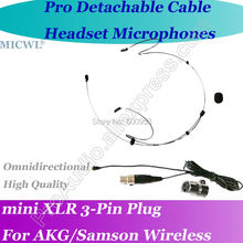MICWL Black  Detachable wire Headset Microphone for AKG Samson Gemini Wireless Microfone com fone de ouvido para