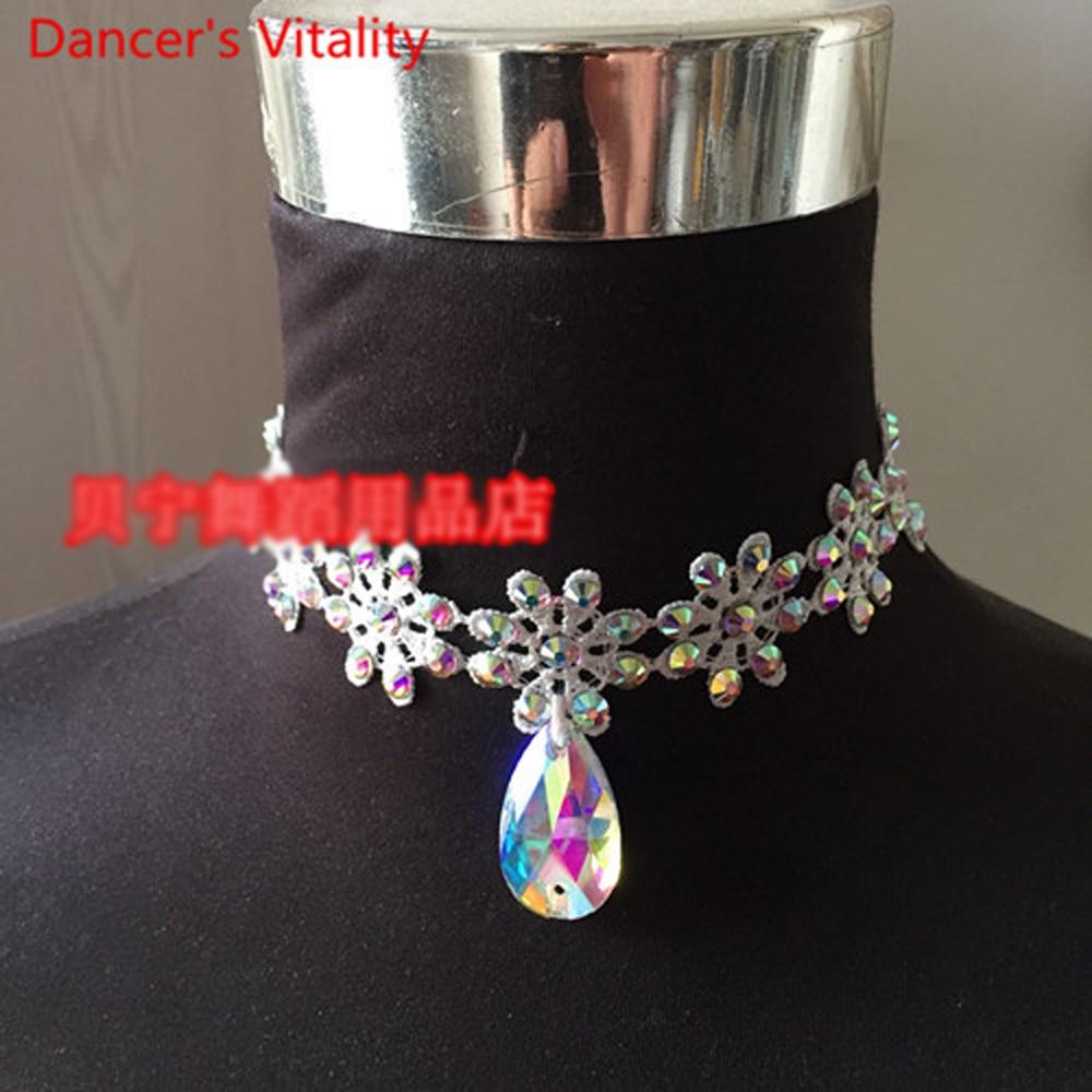 2018 New Latin Dance Necklace Modern Ballroom Waltz Dance Competition Dance Accessories Imitation Austrian Drill Necklace
