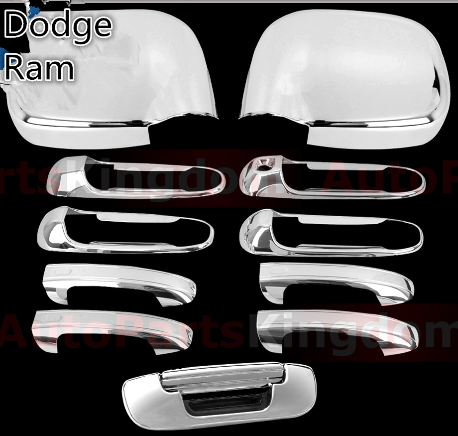 XYIVYG 02-08 For Dodge Ram Chrome 1500+2500+3500 HD Mirror+4 Door Handle+Tailgate ABS Cover nitro triple chrome plated abs mirror 4 door handle cover combo