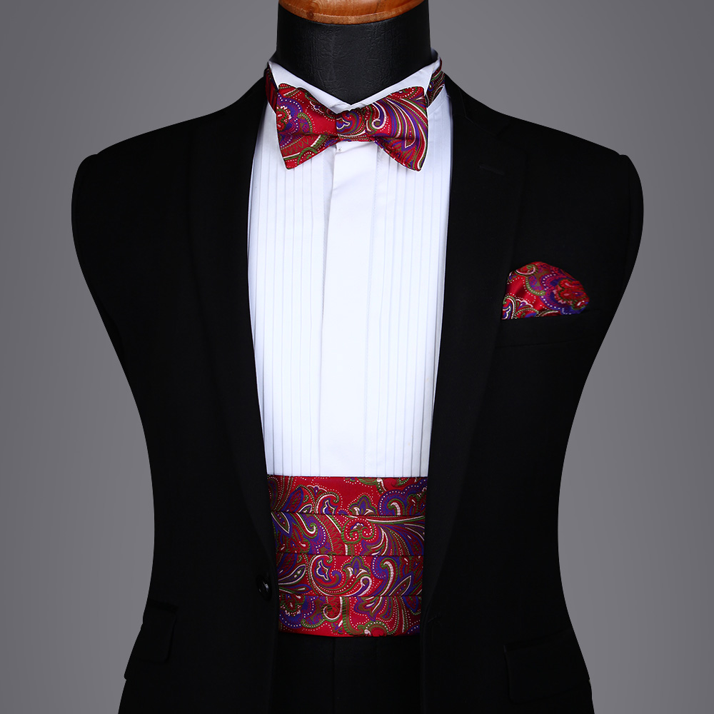 Men's Formal  Party Wedding Paisley Floral Polk Dot Solid Cummerbund Self Bow Tie & Pocket Square Set