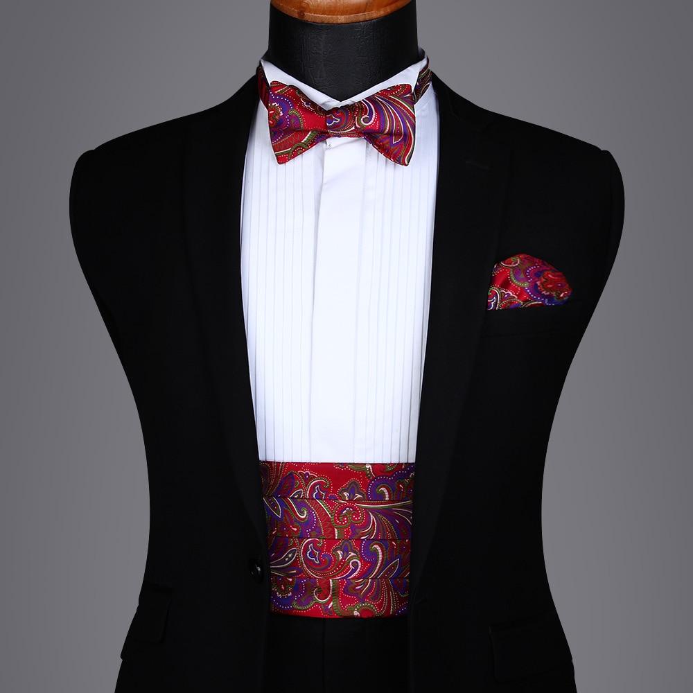 Men's Formal  Party Wedding Paisley Floral Polk Dot Solid Cummerbund Self Bow Tie & Pocket Square Set