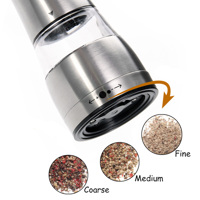 Stainless steel salt and pepper and spices grinder with adjustable coarseness