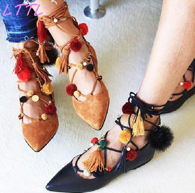 fashion pom pom new designer sandals cross tied bohemian hairball flat sandals women shoes tassel lace up mixed colors national Spring Fashion Pointy Toe Women Lace Up Flats Mixed Colors Pom Pom Ladies Elegant Ballet Flats Yellow Suede Leather