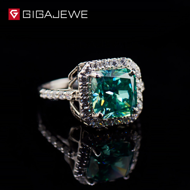 GIGAJEWE Green color 3.5CT Moissanite Rings Finger Class Ring Vintage synthetic Gemstone Engagement Rings