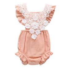 New Summer Solid Color Baby Infant Jumpsuit Sleeveless Lace Romper Openwork Flowers Style Coverall Crawling Clothing