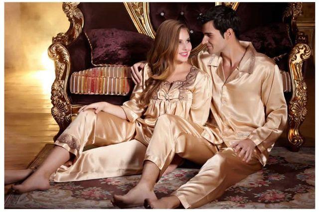 Нижнее белье пижамы установить Весенние и осенние любителей пижамы благородный шелка с длинными рукавами набор мужской женский шелк twinset гостиная.