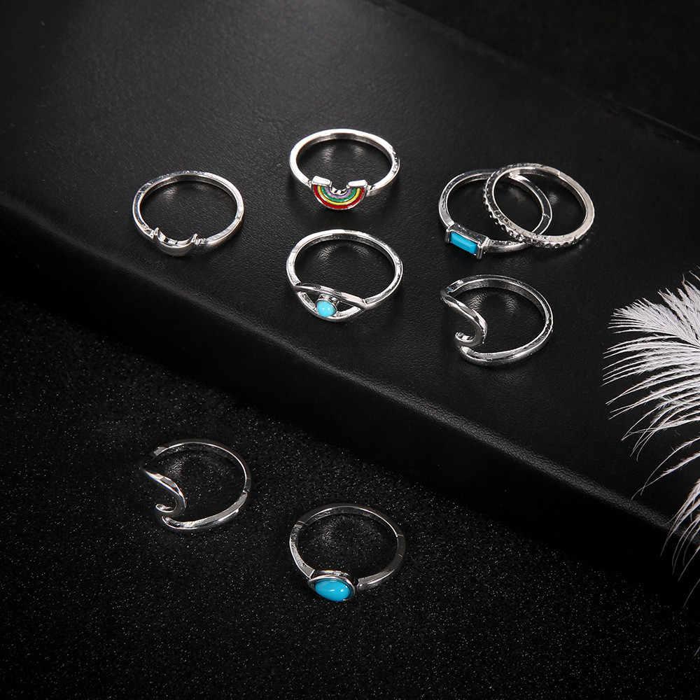 8 unids/set Anillos de plata Bohemia Vintage para Mujer Anillos de aleación de arcoíris ondas ojos Midi dedo nudillos Anillos joyería Anillos Mujer