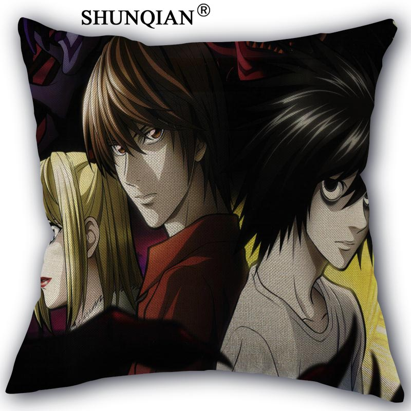 High Quality Cotton Linen Death Note Anime Pillowcase Wedding Decorative Pillow Case For Home Pillow Cover A10.17