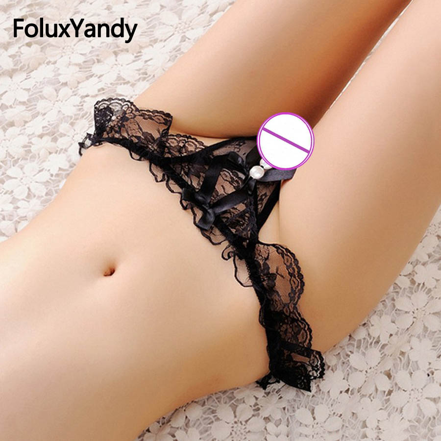 Sexy Panties Women Lace Pearls Tangas Thongs Transparent Ruffles Lace G-String Femal Sexy Lingerie Underwear AAJJ11CN