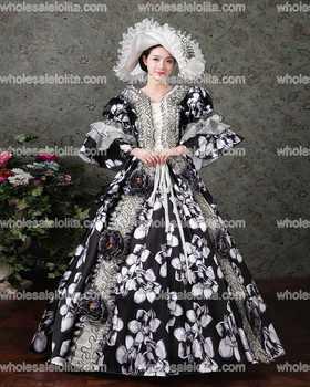 Renaissance Colonial Gothic Period Floral Jane Austen Dress Gown Princess Clothing