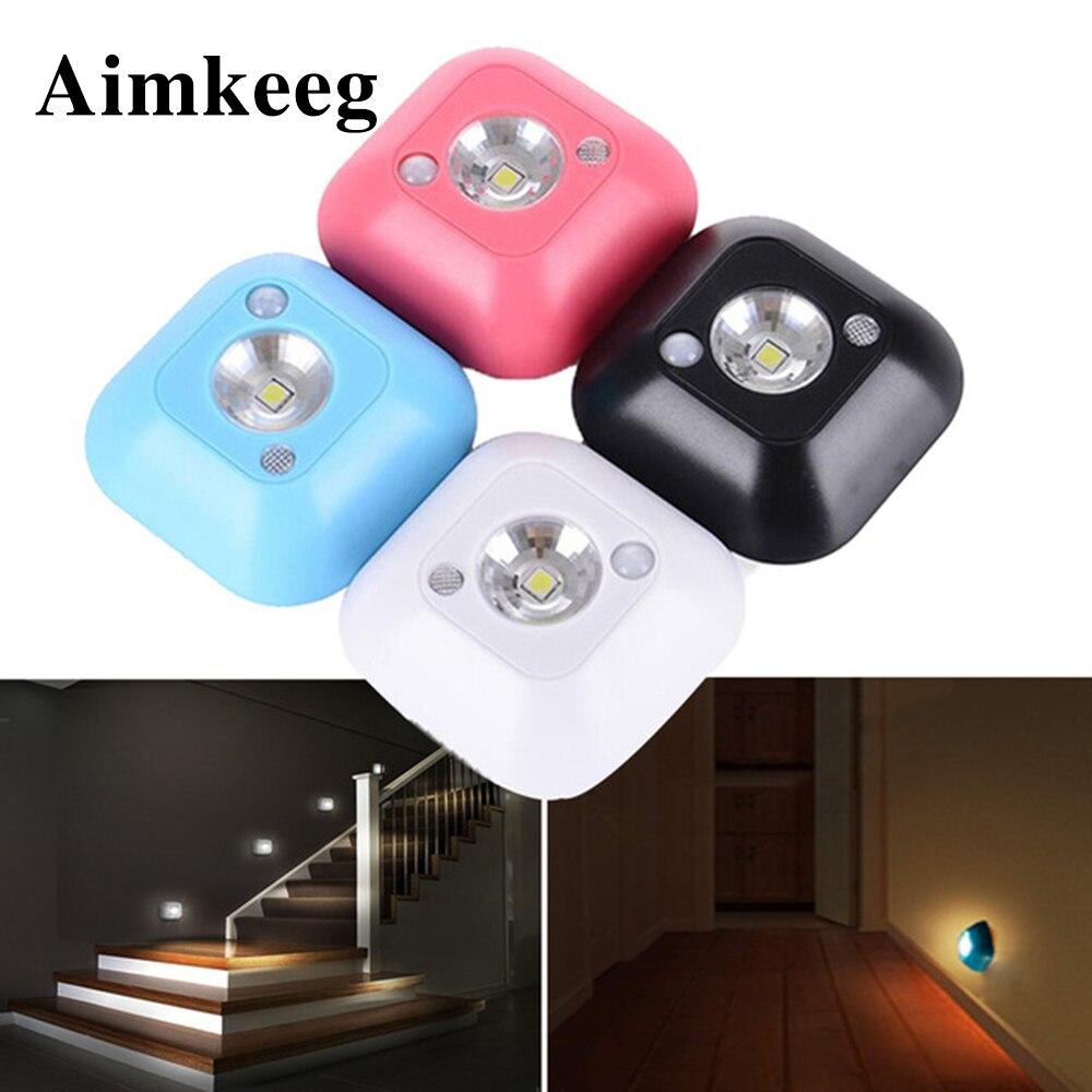 Aimkeeg мини Беспроводной светодиодный Сенсор лампы Night Light ПИР Инфракрасный датчик движения свет для настенный светильник кабинет Лестницы св...