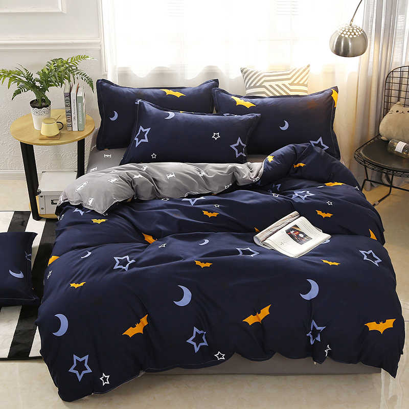 3/4pcs Moon Star Bat printing High Quality Bedding Set Bed Linings Duvet Cover Bed Sheet Pillowcases Cover Set Dropshipping