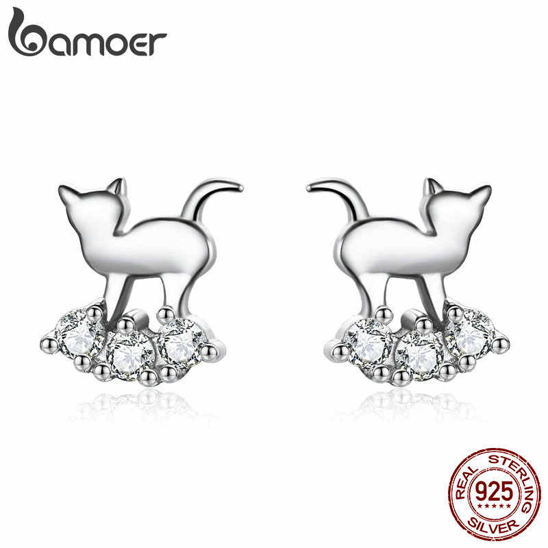BAMOER Hot Sale 925 Sterling Silver Crystal Cat Animal Earrings Stud for Women Clear CZ Sterling Silver Jewelry SCE537