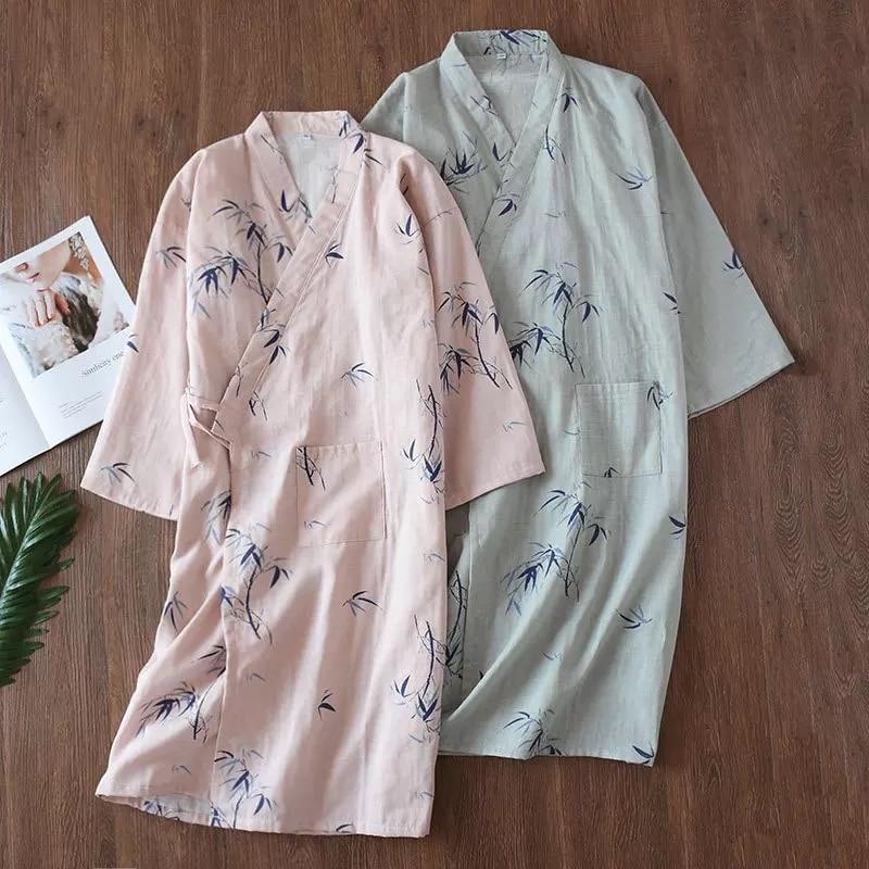 Summer Thin 100% Cotton Gauze Nightgown Lovers Robes Men And Women's Kimono Bathrobe Long Sleeping Skirt Home Clothing Sleepwear