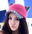 Осень зима симпатичные женщины кроличья волосы шапочка Hat кошка уголок бейсболка
