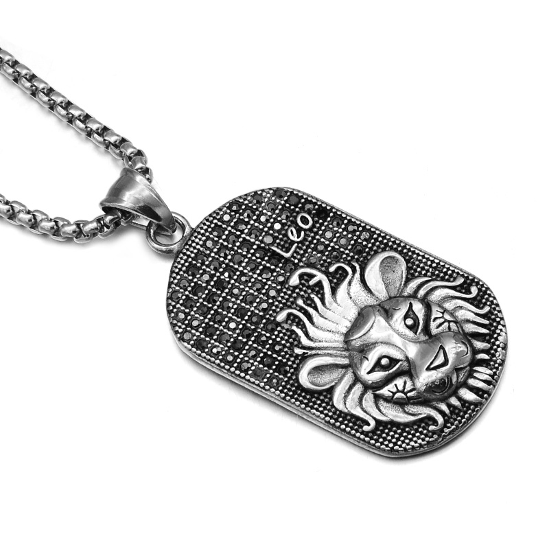 HIP Punk 12 Zodiac Sign Men Lion Leo Charm Necklaces & Pendants Soild Casting Stainless Steel Dog Tags Necklace for Men Jewelry