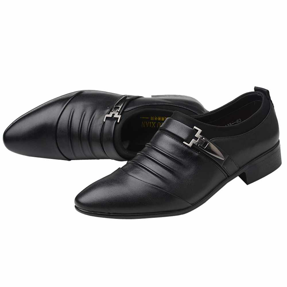 2019 Resmi Ayakkabı Erkekler Moda Sivri Burun Erkek Elbise Ayakkabı Düğün Deri Erkek Oxford Erkekler Için Resmi Ayakkabı