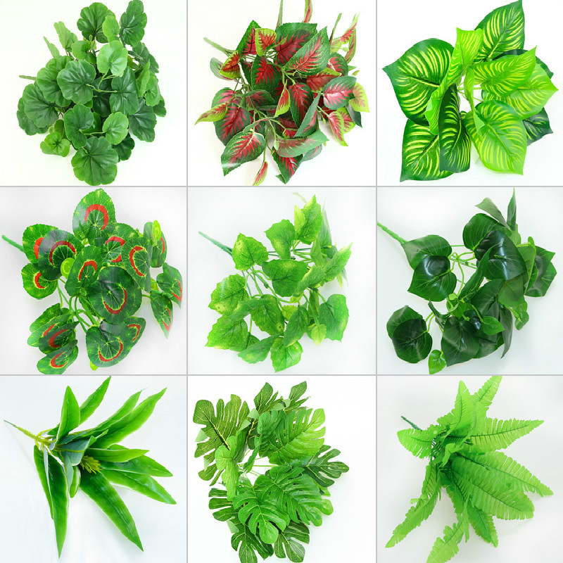 1piece Green Artificial Leaves Monstera Palm Leaf Plants Wall Material Decorative Fake Plants For Home Shop Garden Party Decor Artificial Dried Flowers Aliexpress