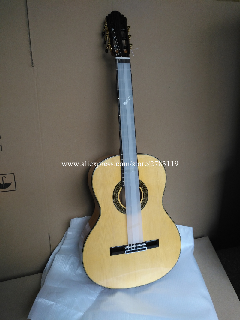 Professional 39 Acoustic Flamenco guitar With Solid Spruce/Aguadze(Mourning Cypress) Body +hard case,Handmade Classical guitar