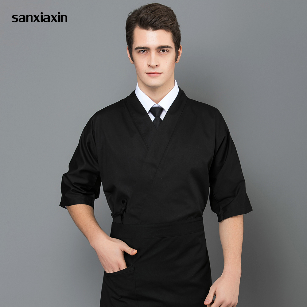 Japanese-style Short Sleeved Chef Work Clothes Hotel Restaurant Kitchen Chef Uniform Men's Clothing Sushi Costume Chef Jacket