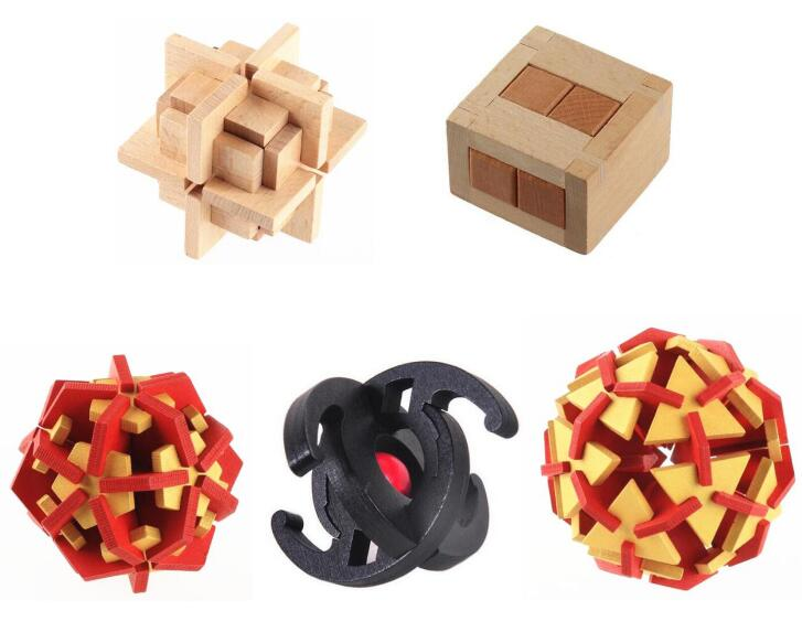 2017 New 5PCS/Set Wooden Brain Teaser Puzzle Game for Adults Kids