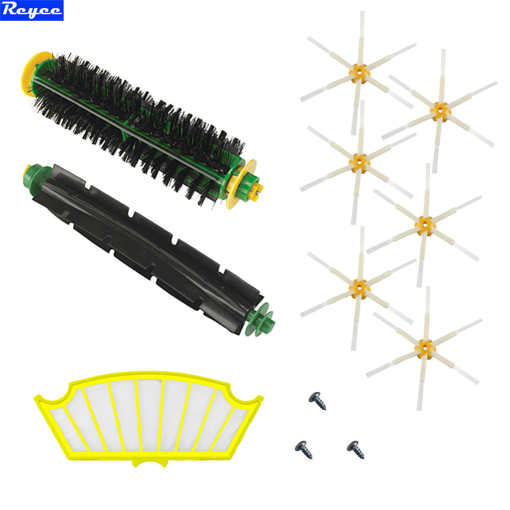Bristle and Flexible Beater Brush + Side Brush + Filter for iRobot Roomba 500 Series Vacuum Cleaner 520 530 540 550 560 Filter 1 piece robot hepa filter replacement for irobot roomba 500 series 520 530 540 550 560 vacuum cleaner parts