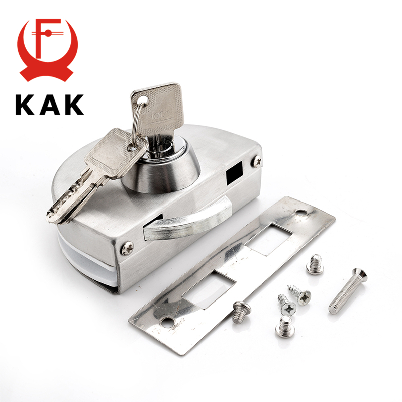 KAK Single Central Glass Door Lock Stainless Steel Bolt Locks Open Frameless Door Hasps For 10-12mm Glass Furniture Hardware thick reinforced glass door lock all sus304 stainless steel no need to open holes frameless glass door cp408