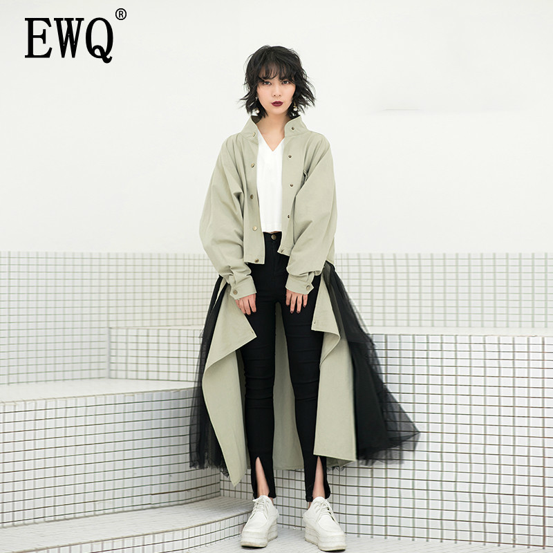 EWQ New 2019 Fashion Long Batwing Lapel Single Breasted Coat Patchwork Detachable Skirt Casual Two