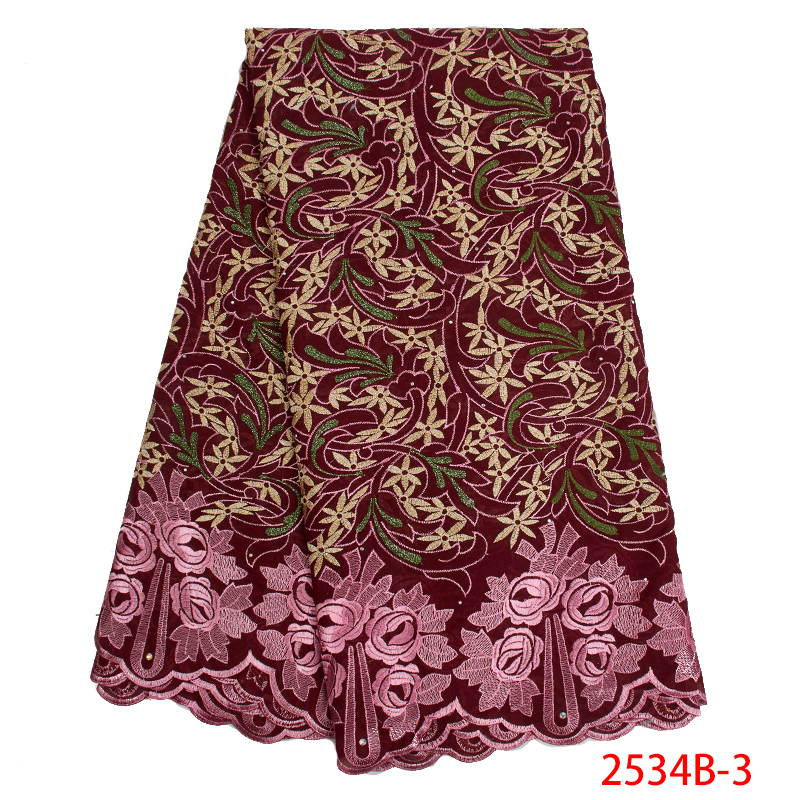 Best Selling French Lace Fabric High Quality Swiss Voile Lace Fabric Embroidery Cotton With Stones For Dresses KS2534B-3