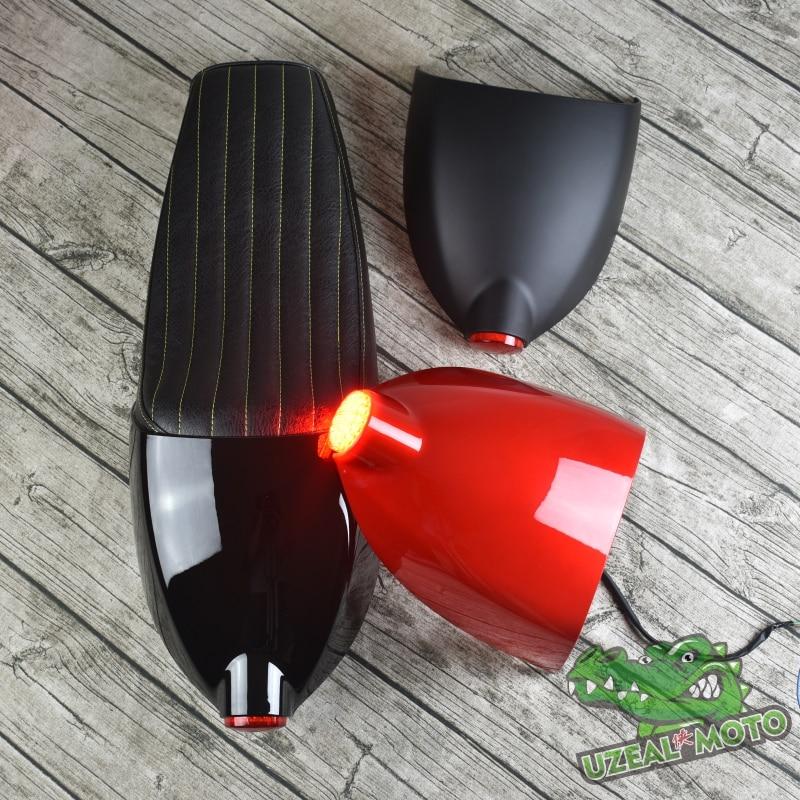 Universel Vintage moto coussin noir café Racer siège refit moto siège avec coque de couverture et feu arrière