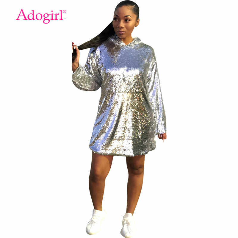 c8f9a5df9d75 Adogirl Silver Sequins Loose Hooded Dress Long Sleeve Pockets Mini Night  Club Party Dresses Pullover Sweatshirt