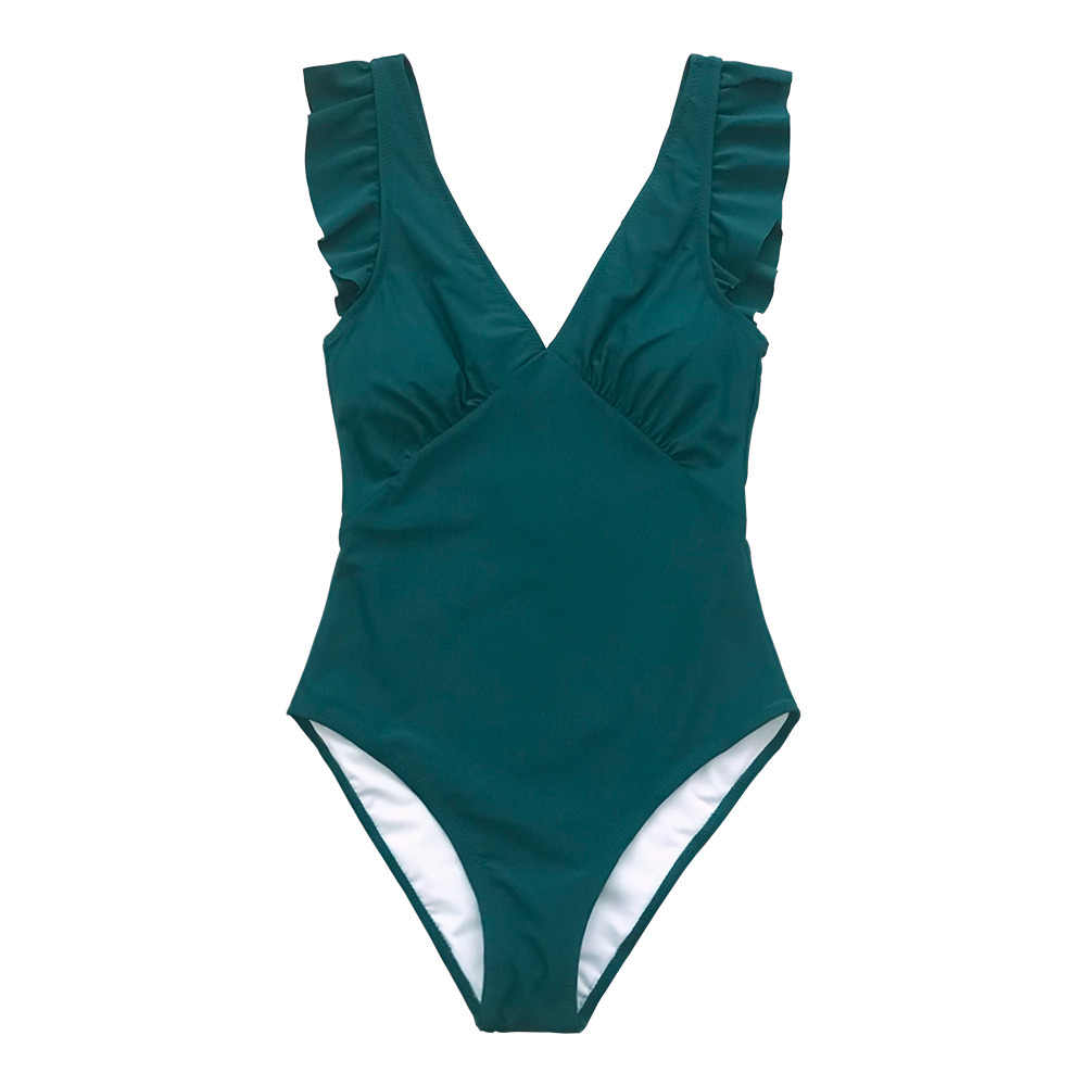 CUPSHE Green Teal Plunging Solid One-Piece Swimsuit Women Ruffle Ruched Monokini 2019 Girl Beach Bathing Suits