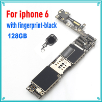 128GB black original motherboard for iphone 6 4.7inch with fingerprint with Touch ID mainboard tested logic board free shipping