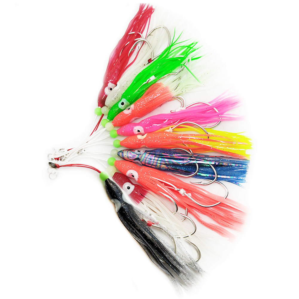 10pcs 12cm Soft Octopus Trolling Fishing Lures Big Game Squid Skirts Luminous Fishing Baits Tuna Bass Jigging Rigs in Fishing Lures from Sports Entertainment