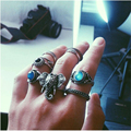 2016 New Hot Bohemian Elephants Ring 10pcsTurquoise Retro Boho Rings  Leaf  Eyes same kinds high quality rings sets for women