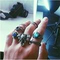 2016 Nueva Caliente de Bohemia Anillo de Elefantes 10 pcsTurquoise Retro Boho Anillos Hoja Ojos mismos tipos de alta calidad anillos conjuntos para mujeres