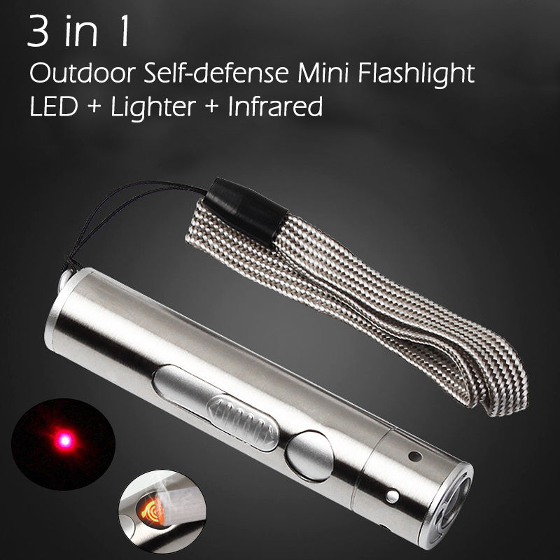 3 In 1 Outdoor Mini LED Flashlight + Cigarette Lighter + Infrared Light USB Charging Aluminium Alloy Torch High Power