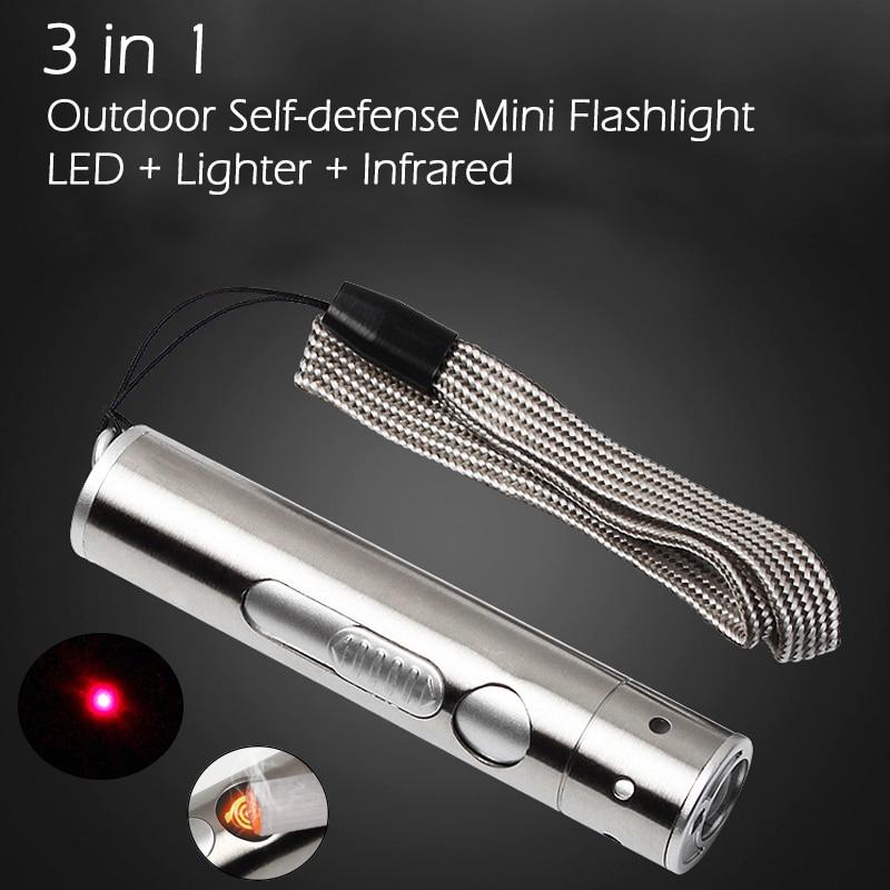 3 In 1 Outdoor Mini LED Flashlight + Cigarette Lighter + Infrared Light USB Charging Aluminium Alloy Torch High Power
