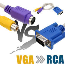 New 15-Pin Sub-D VGA SVGA Male to TV S-Video 2 RCA AV Converter Cable Adapter For PC 15 pin vga to s video av rca tv cable 19cm length