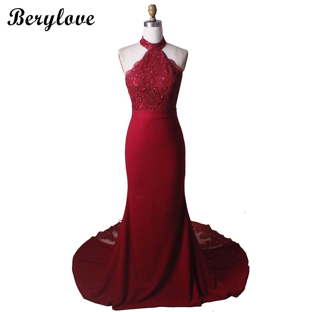 BeryLove Classic Burgundy Mermaid Evening Dresses 2018 Halter ...
