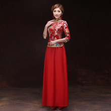 Traditional Chinese Wedding Qipao Satin Cheongsam Dress 2017 Autumn Red Bride Embroidery Dragon Phoenix Clothing Vintage Qi Pao