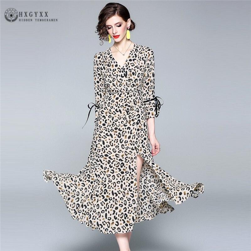 2019 printemps été Sexy robe léopard mince minceur ourlet fendu col en v robe femme décontracté femmes longues robes C167