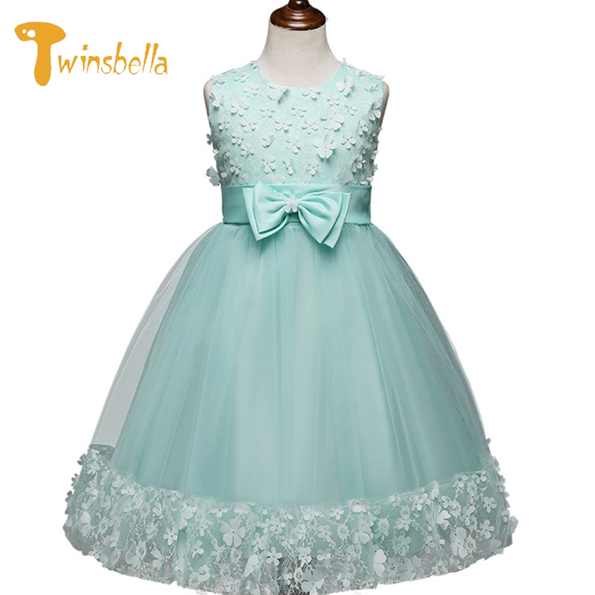 TWINSBELLA Girls Dress Wedding Party Princess Christmas Dresses For Girl Party Costume Kids Cotton Party Girls Clothing summer 2017 new girl dress baby princess dresses flower girls dresses for party and wedding kids children clothing 4 6 8 10 year