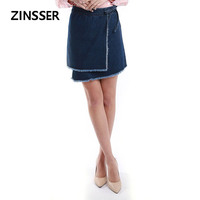 Autumn Winter leisure Women Denim Fancy Skirt Casual Irregular Bottom Raw Frayed Edge 100% Cotton Washed Blue Female Lady Skirt