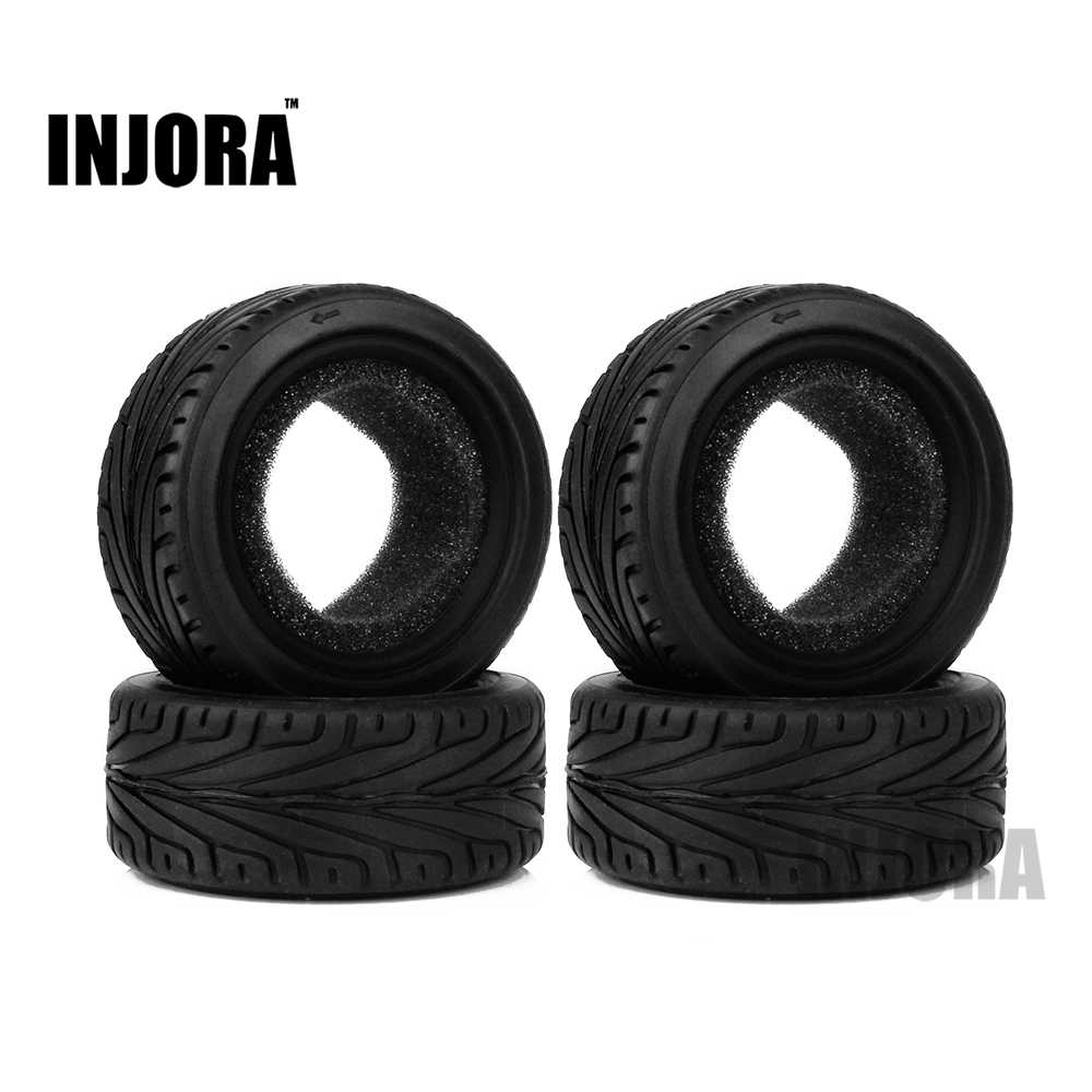 INJORA 4 stks Run Platte RC Auto Black Grain Rubber Tyre Wheel Band voor 1/10 RC On Road Car Traxxas HSP Tamiya HPI Kyosho Type Onderdelen