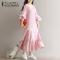 2018 ZANZEA Elegant Women Stripe O Neck 3 4 Bell Sleeve Autumn Loose Ruffle Hem Long