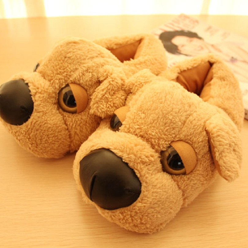 Brown Dog slippers plush cotton padded indoor slippers autumn and winter home slippers pantufas de animais