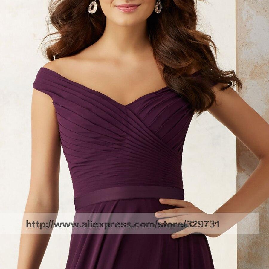 Elegante eine linie günstige hochzeit kleid plum chiffon lange plus ...
